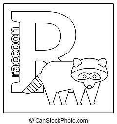 Raccoon, letter R coloring page