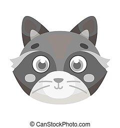 Raccoon muzzle icon in monochrome style isolated on white background. Animal muzzle symbol stock vector illustration.