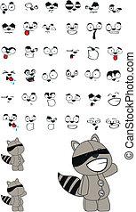 raccoon plush cartoon set