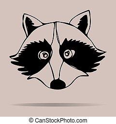 Raccoon portrait. Vector illustrati