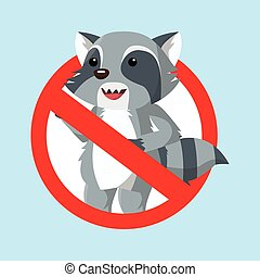 raccoon prohibited vector illustration design