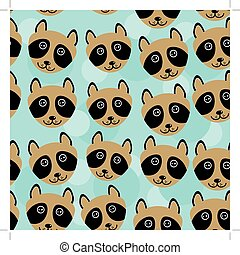 Raccoon Seamless pattern with funny cute animal face on a blue background