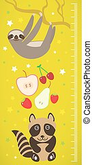 Raccoon sloth and apple pear strawberry cherry on green background Children height meter wall sticker. Vector