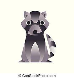 Raccoon stylized geometric animal low poly design vector Illustration