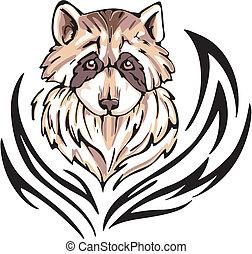 raccoon tattoo - Tattoo with raccoon head. Color vector...
