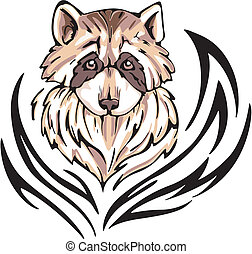 raccoon tattoo - Tattoo with raccoon head. Color vector...