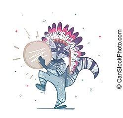 Raccoon tribal shaman with a tambourine dance.