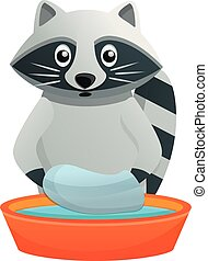 Raccoon wash in basin icon, cartoon style