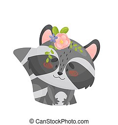 Raccoon with a pink flower on his head. Vector illustration on a white background.
