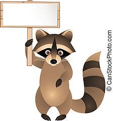 Raccoon with blank sign - Vector Illustration Of Raccoon...