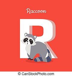 Raccoon with Letter R Isolated. ABC, Alphabet.