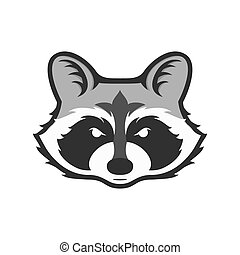 Raccoons head logo for sport club or team. Animal mascot logotype. Template. Vector illustration.