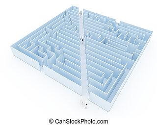 raccourci, hommes, success., business, labyrinthe, sentier, clair, obstacles, stratégie, constitué, vision, direction, labyrinthe, solution, défis