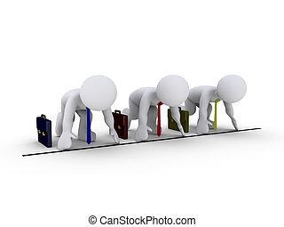 Race amonst businessmen - Three 3d businessmen prepare to ...