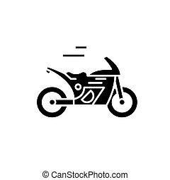 Race bike black icon, vector sign on isolated background. Race bike concept symbol, illustration