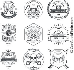Race Bikers Garage Repair Service Emblems and Motorcycling Clubs Tournament Labels Collection isolated. Vector