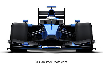 race car - black and blue - 3d illustration/rendering of a ...