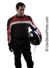Race Car Driver or Motorcycle Biker on White Background -...