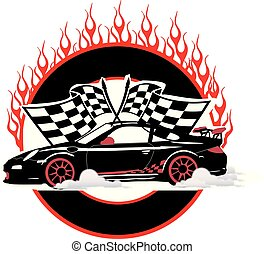 Race Car Flame Emblem with Flags Vector Logo