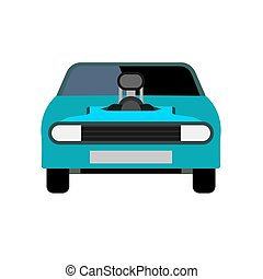 Race car front view blue vector icon. Modern transportation design automotive technology sport vehicle.