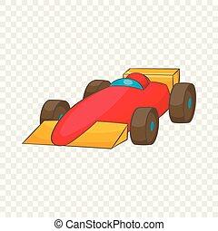Race car icon, cartoon style