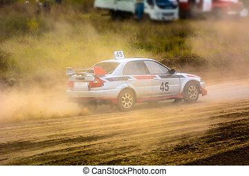 Race car on a dusty road