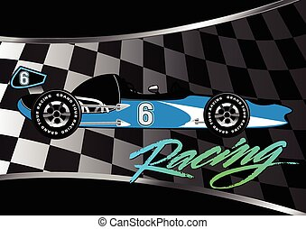 Race car poster on checkered flag with script