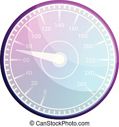 Race car speedometer icon, cartoon style