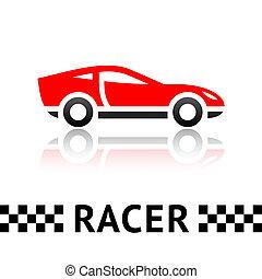 Race red car symbol, vector design element