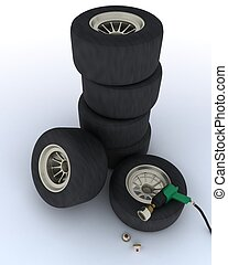 race car tires for pit stop - 3D render of race car tires...