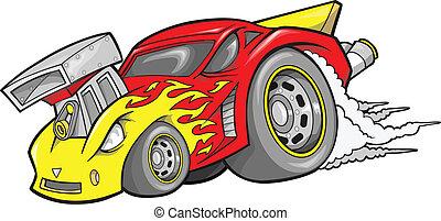race-car, vecteur, hot-rod