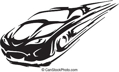 Race car - vector illustration - Racing emblem - black and...