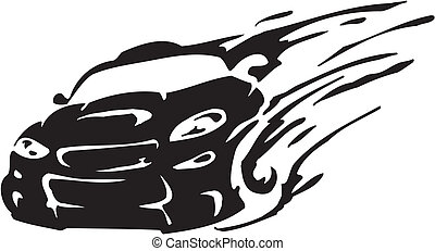 Race car - vector illustration - Racing emblem - black and ...