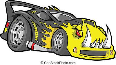 race-car, vektor, hot-rod