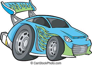 race-car, wektor, sztuka, hot-rod