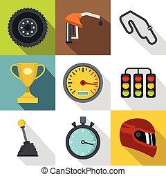 Race cars icons set, flat style