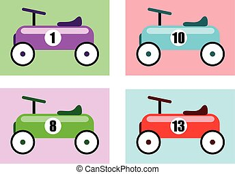 Race Cars - Vector Illustration Of A Vintage Racing Car Toys...