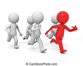 race, competition - Five people in the race