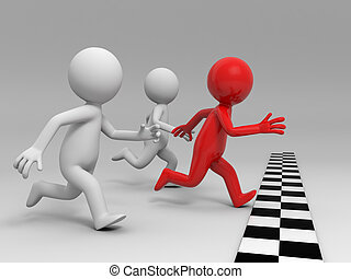 race, competition ,win, success - Three people in the race
