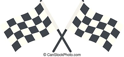 Race crossed flags icon, flat style