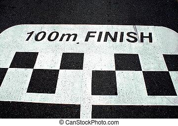 Race finish line on asphalt