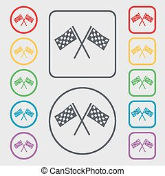 Race Flag Finish icon sign. symbol on the Round and square buttons with frame. Vector