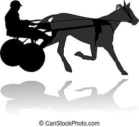 Race horse-drawn carts vector illustration