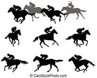 race horses and jockeys silhouettes collection