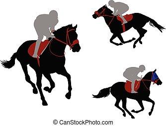 race horses and jockeys silhouettes