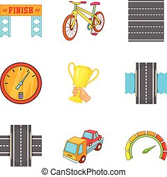 Race icons set, cartoon style