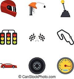 Race icons set, flat style