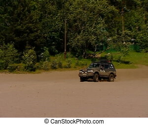 Race in a jeep