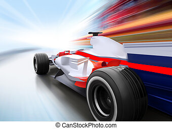 race on road - driving at high speed in empty road - motion...