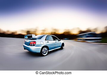 Race Rally Car - Moving Japanese performance rally race car